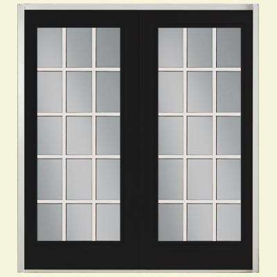Prehung 15 Lite Fiberglass Patio Door with No Brickmold in Vinyl Frame