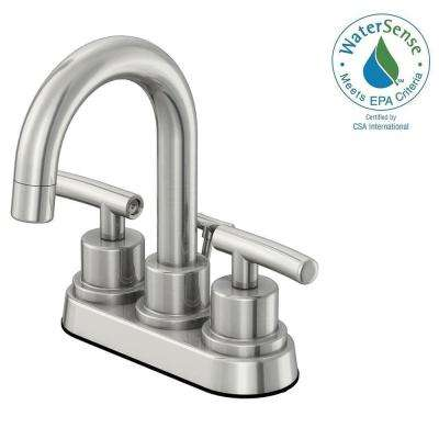 Dorset 4 in. Centerset 2-Handle Bathroom Faucet in Brushed Nickel and Ceramic Disc Cartridge with Pop-Up Assembly