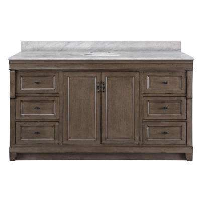 Naples 61 in. W x 22 in. D Bath Vanity in Distressed Grey with Marble Vanity Top in Carrara White