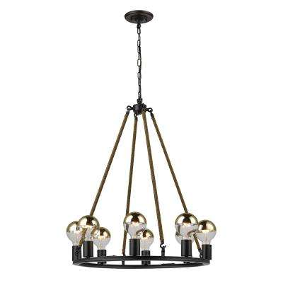 Myrcella 8-Light Oil Rubbed Bronze Twine Wrapped Round Vintage Chandelier