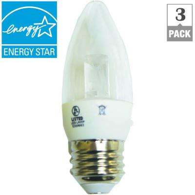 40W Equivalent Soft White B11 Clear Blunt Tip Decorative LED Light Bulb (3-Pack)