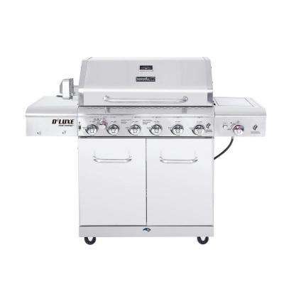 Deluxe 6-Burner Propane Gas Grill in Stainless Steel with Ceramic Searing Side Burner and Ceramic Rotisserie Burner