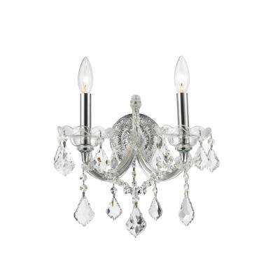 Maria Theresa Collection 2-Light Chrome Sconce with Clear Crystal