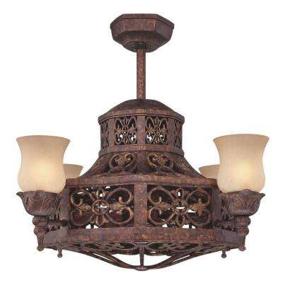 14 in. 4-Light New Tortoise Shell Carved Scavo Indoor Ceiling Fan