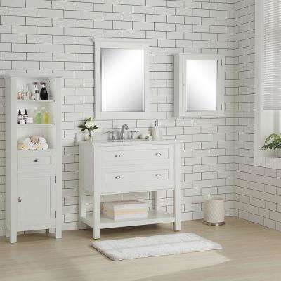 Austell 37 in. W x 22 in. D Vanity in White with Marble Vanity Top in White with White Sink