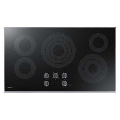Samsung 36 in. Glass Surface Electric Cooktop in Stainless Steel with 5 Elements with Rapid Boil and WiFi Samsung