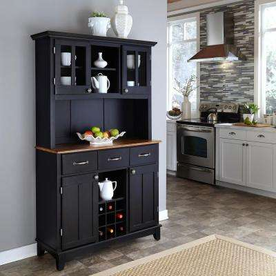 3-Drawer 44 in. W Black Buffet with Cottage Oak Wood Top and Hutch