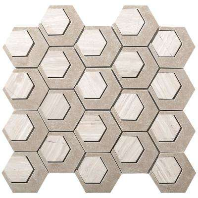 Catalyst Oxygen 12.6 in. x 13.62 in. x 8 mm Cast Stone Mesh-Mounted Mosaic Tile (1.19 sq. ft.)