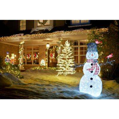 Icicle Shimmer 72 in. Christmas LED Acrylic Snowman with 2 Birds