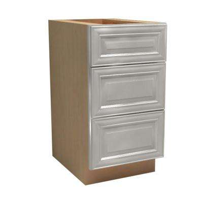 15x34.5x24 in. Brookfield Assembled Base Drawer Cabinet with 3 Drawers in Pacific White