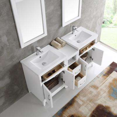Cambridge 60 in. Vanity in White with Porcelain Vanity Top in White with White Ceramic Basins and Mirror