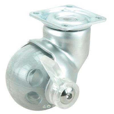 1-31/32 in. Satin. chrome and Gray Swivel with Brake Plate Caster, 66.1 lb. Load Rating