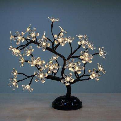 18 in. 3-Watt Crystal Clear Flower Bonsai with 36 Warm White LED Lights