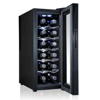 12 Bottle Thermoelectric Freestanding Wine Cooler Fridge Cellar Refrigerator with Door Lock - Black