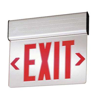 Double Face Surface Mount Edge-Lit LED Emergency Exit Sign Red