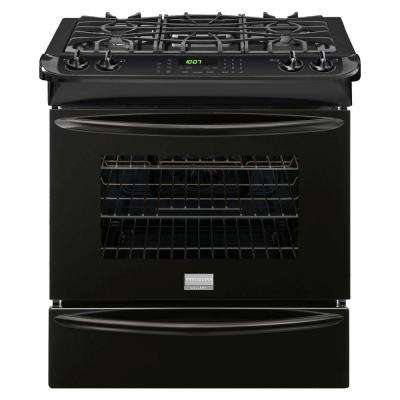 30 in. 4.6 cu. ft. Slide-In Gas Range with Self-Cleaning Convection Oven in Black