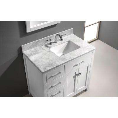 Caroline Parkway 36 in. W Bath Vanity in White with Marble Vanity Top in White with Square Basin and Mirror