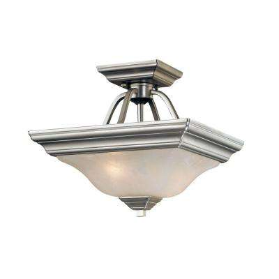 2-Light Satin Nickel Semi Flush Mount with Faux Alabaster Glass