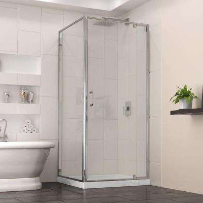 Flex 32 in. x 32 in. x 74.75 in. Corner Framed Pivot Shower Enclosure in chrome with White Acrylic Base