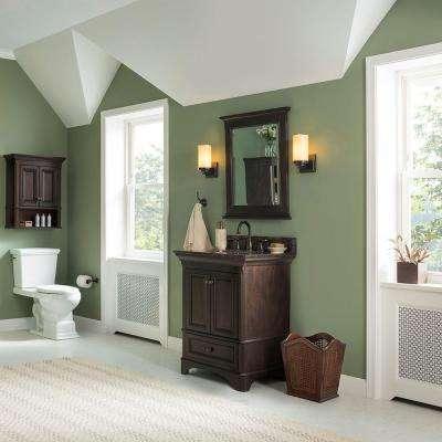 Moorpark 25 in. W x 22 in. D Bath Vanity in Burnished Walnut with Granite Vanity Top in Brown
