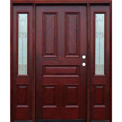 Traditional 5-Panel Stained Mahogany Wood Prehung Front Door w/6in. Wall Series and 12in. Sidelites