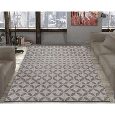Jardin Collection Contemporary Star Design Gray 5 ft. x 7 ft. Outdoor Area Rug