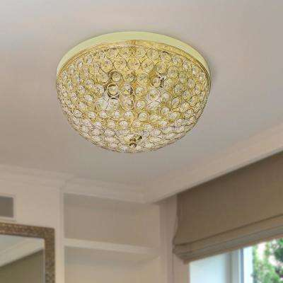 13 in. 2 Light Elipse Crystal Flush Mount Ceiling Light 2 Pack, Gold