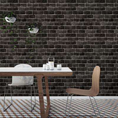 Textured Brick Ebony Self-Adhesive Removable Wallpaper
