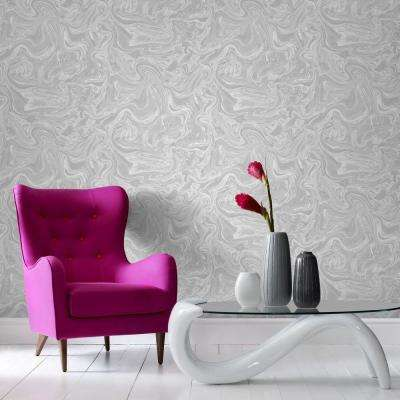 Gray and White Marbled Removable Wallpaper
