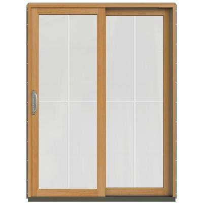 59-1/4 in. x 79-1/2 in. W-2500 Arctic Silver Prehung Right-Hand Clad-Wood Sliding Patio Door with 4-Lite Grids