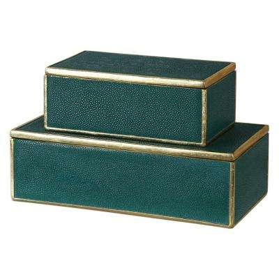 4.75 in. Decorative Boxes in Emerald Green (Set of 2)
