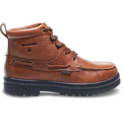 Men's Moc-Toe Brown Full-Grain Leather Boot
