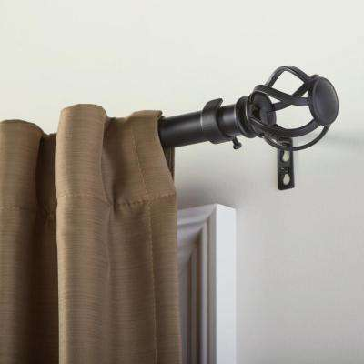 Mix and Match 1 in. Swirl Cage Curtain Rod Finial Set in Matte Black (2-Pack)