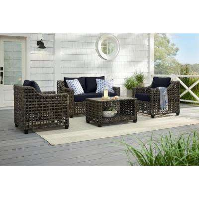 Briar Ridge Brown Wicker Outdoor Patio Loveseat with CushionGuard Midnight Navy Blue Cushions