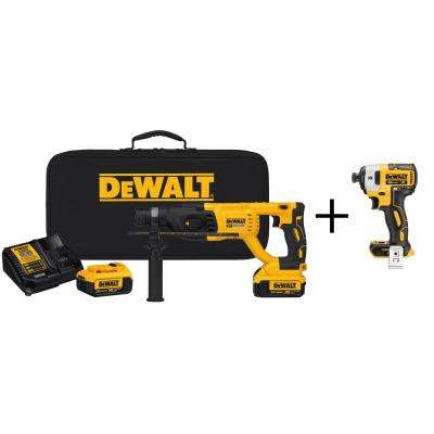 20-Volt MAX Lithium-Ion 1 in. Cordless Brushless D-Handle Rotary Hammer Kit with Bonus Bare Impact Driver