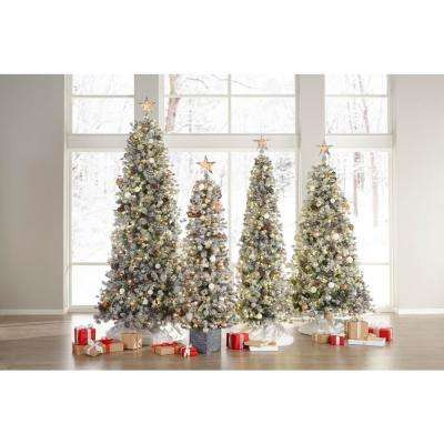 6.5 ft. Pre-lit Flocked Lexington Pine Potted Artificial Christmas Tree with 200 Clear Lights