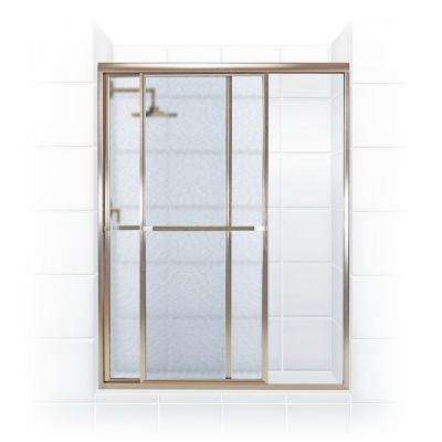 Paragon 42 in. to 43.5 in. x 66 in. Framed Sliding Shower Door with Towel Bar in Brushed Nickel and Obscure Glass