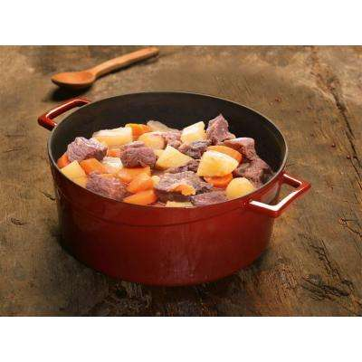 Signature 10-1/2 Qt. Enameled Cast Iron Round Dutch Oven in Cayenne Red