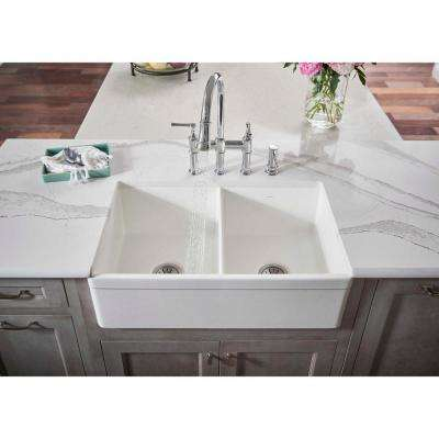 Explore Farmhouse Apron Front Fireclay 33 in. Double Bowl Kitchen Sink in White