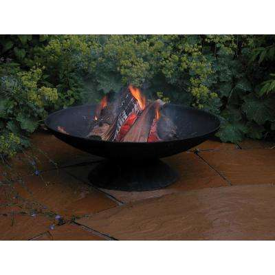 Fancy Flames 23 in. x 8 in. Round Cast Iron Wood Burning Fire Pit in Black
