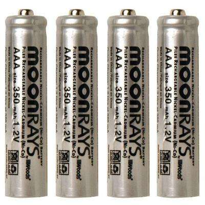 Rechargeable 350 mAh NiCd AAA Batteries for Solar-Powered Units (4-Pack)