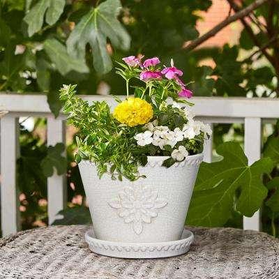 Lorna 12 in. dia Pearl White Ceramic Pot