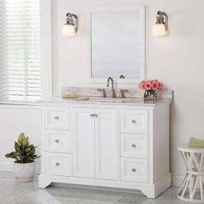 Stratfield 49 in. W x 22 in. D Bathroom Vanity in White with Stone Effect Vanity Top in Winter Mist with White Sink