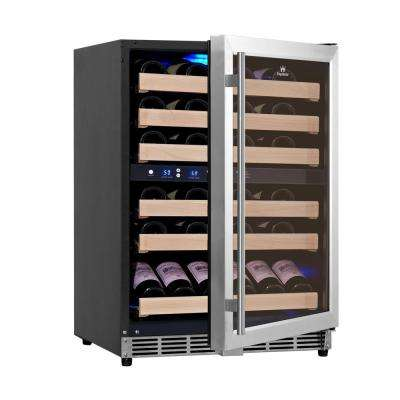 Dual Zone 23.42 in. 46-Bottle Convertible Stainless Steel Wine Cooler