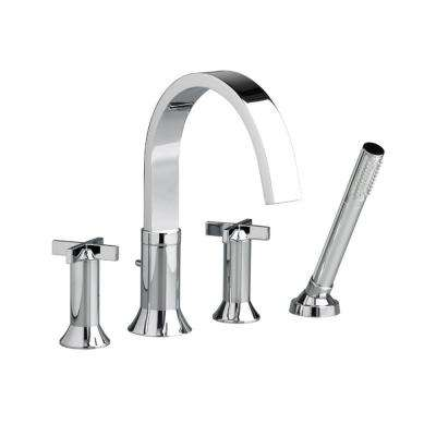 Berwick Cross 2-Handle Deck-Mount Roman Tub Faucet with HandShower in Polished Chrome