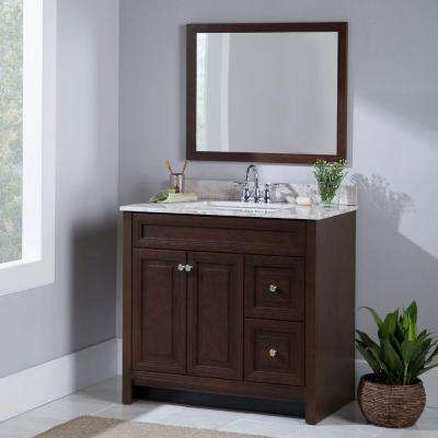 Brinkhill 37 in. W x 39 in. H x 22 in. D Bathroom Vanity in Cognac with Stone Effects Vanity Top in Winter Mist