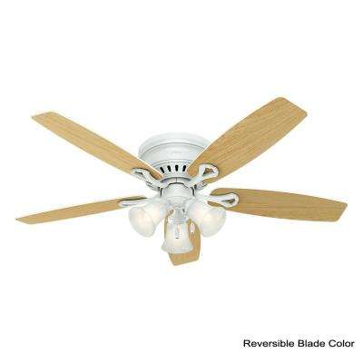 Oakhurst 52 in. LED Low Profile Indoor White Ceiling Fan with Light Kit