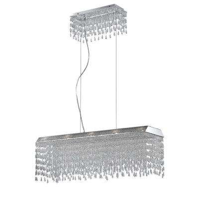 Fonte Collection 10-Light Chrome and Clear Rectangular Chandelier