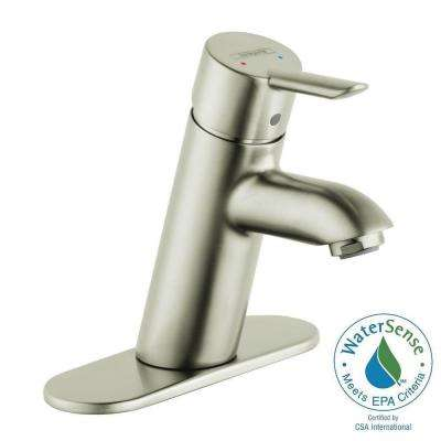 Focus S Single Hole 1-Handle Low-Arc Bathroom Faucet in Brushed Nickel