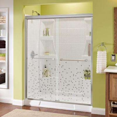 Crestfield 60 in. x 70 in. Semi-Frameless Sliding Shower Door in Chrome with Mozaic Glass